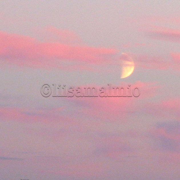 Kuunsirppi näkyy roosanväristen pilvien takaa taivaalla Korppoon saaristossa